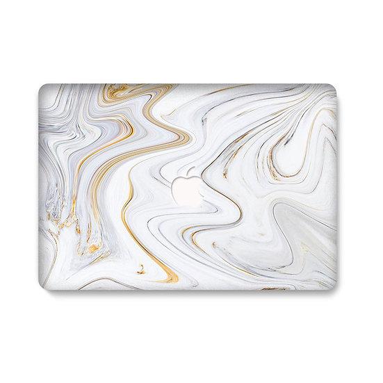 เคส Macbook ลายหินอ่อน Gold Wave เจาะโลโก้