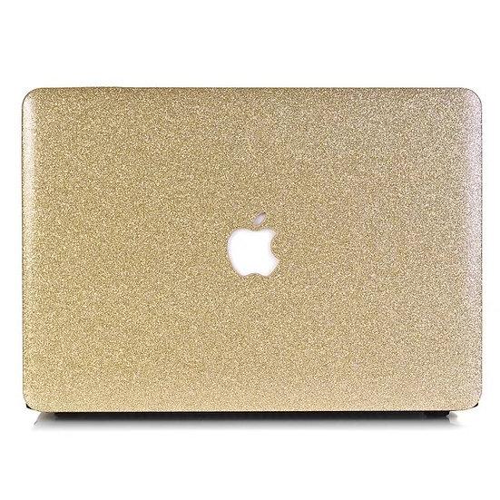 เคส Macbook กากเพชร สี Gold ผิวมัน เจาะโลโก้