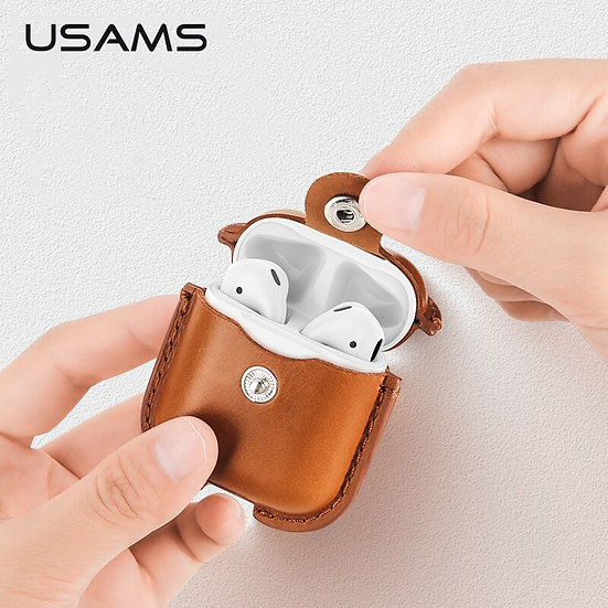 USAMS  Airpods(Generation2) Genuine Leather Case