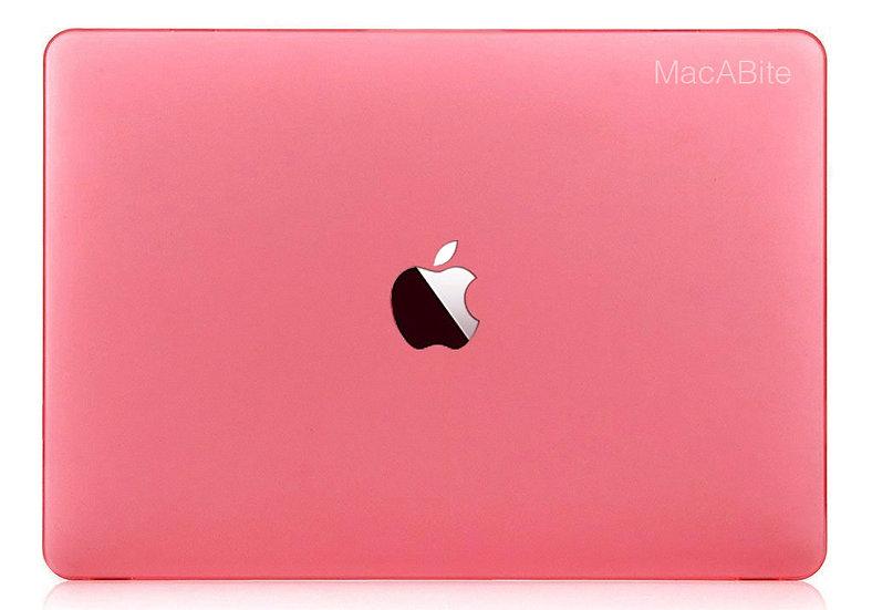 เคส Macbook สีชมพู ผิวด้าน เจาะโลโก้