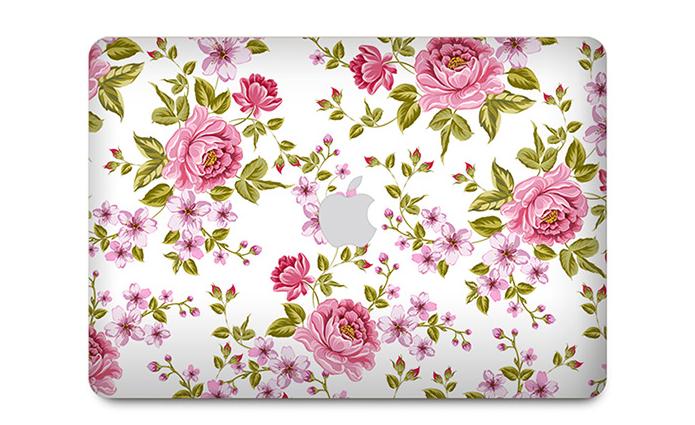 sticker ลาย Pink flower ติดรอบตัวเครื่อง Macbook
