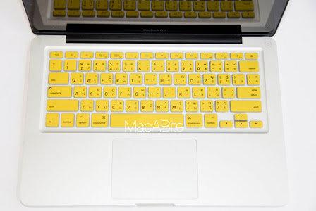 กันรอยคีย์บอร์ด สีเหลือง มีภาษาไทย-อังกฤษ MacBook