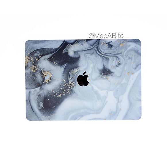 เคส Macbook ลายหินอ่อน Grey Splash เจาะโลโก้