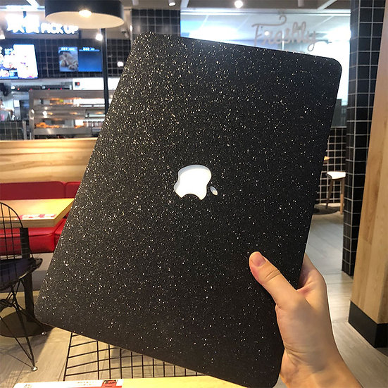 เคส Macbook กากเพชร สี Black เจาะโลโก้ มีTextureกากเพชร