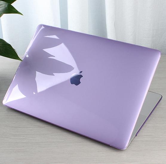 เคส Macbook สีม่วง ผิวมัน ไม่เจาะโลโก้