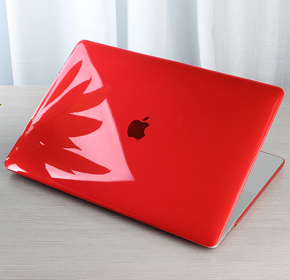 เคส Macbook สีแดง ผิวมัน ไม่เจาะโลโก้