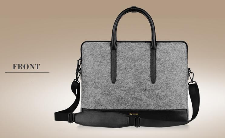 กระเป๋า Cartinoe for macbook light series leather and wool felt