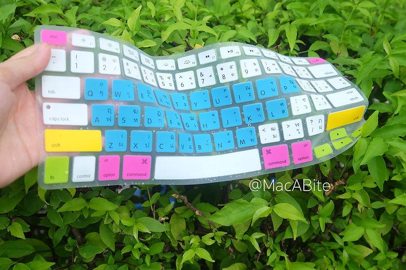 กันรอยคีย์บอร์ด สีฟ้าขาว มีภาษาไทย-อังกฤษ MacBook