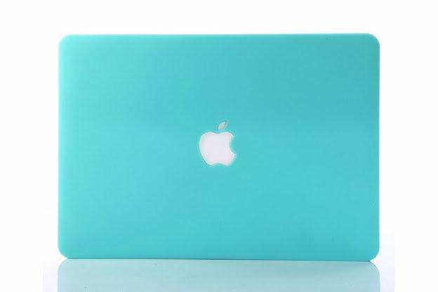 เคส Macbook สีฟ้ามินท์ ผิวด้าน เจาะโลโก้