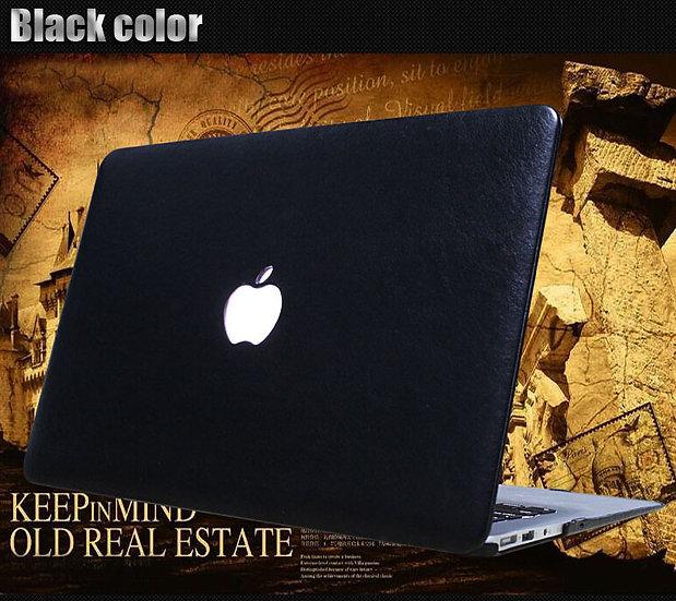 เคส Macbook หุ้มหนัง PU สีดำ เจาะโลโก้