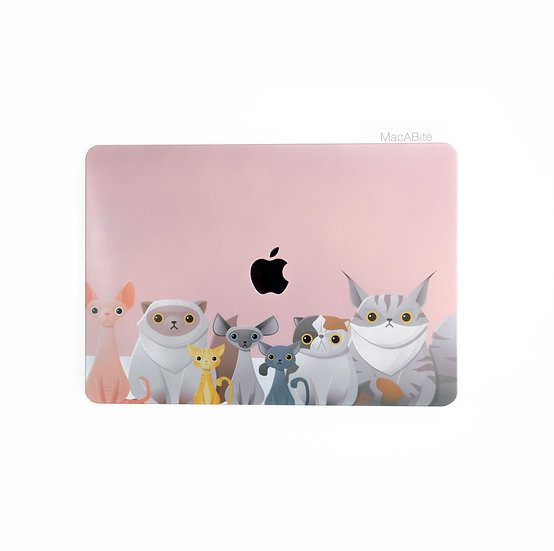 เคส Macbook ลาย Pink Cat เจาะโลโก้