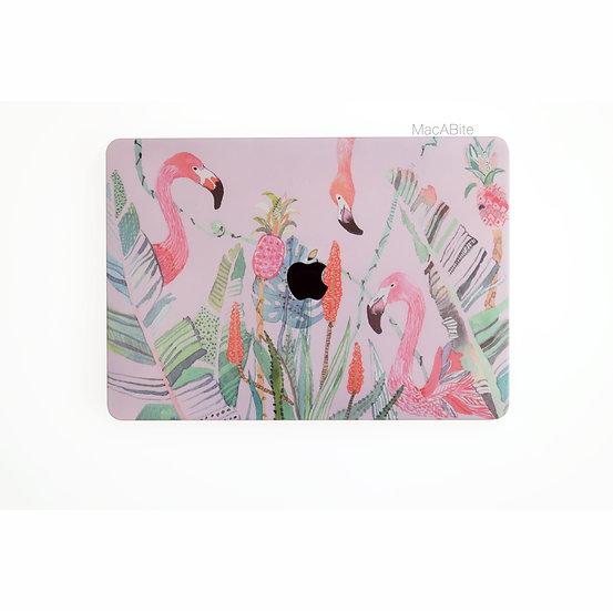 เคส Macbook ลาย Pink Flamingo เจาะโลโก้