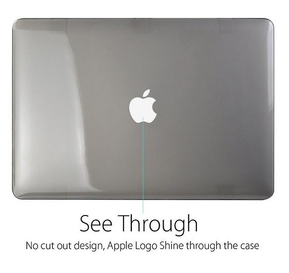 เคส Macbook สีเทา ผิวมัน ไม่เจาะโลโก้