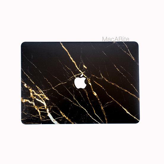 เคส Macbook ลายหินอ่อนดำทอง เจาะโลโก้