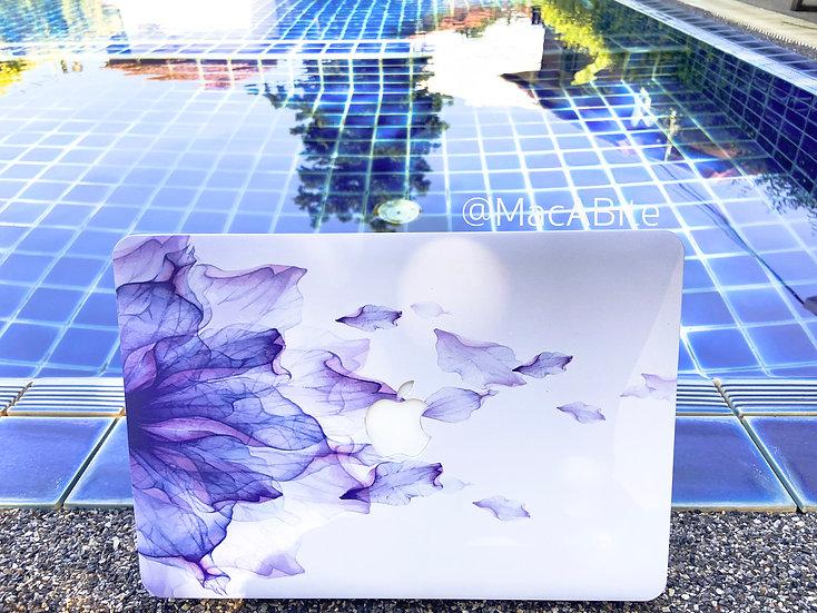 เคส Macbook ลาย Purple Flower เจาะโลโก้