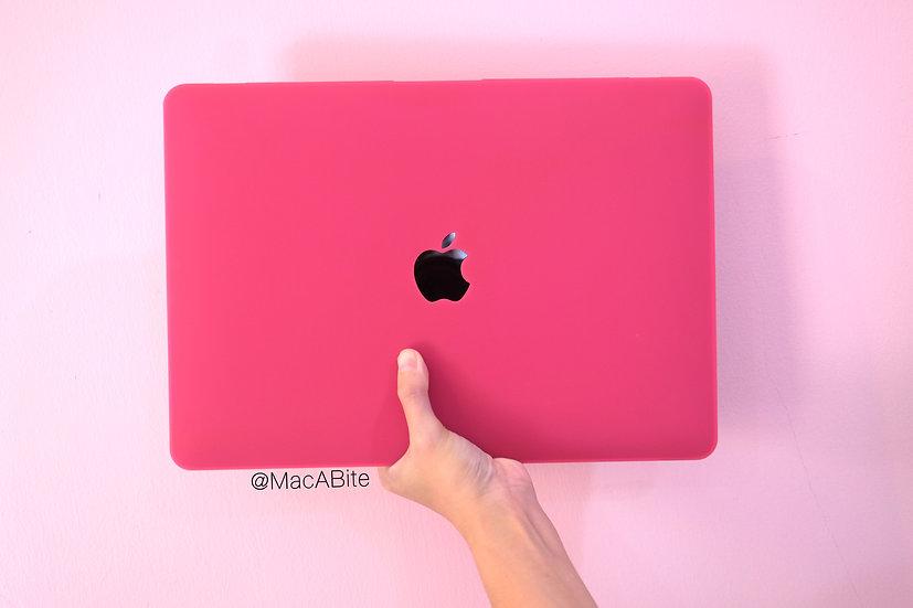 เคส Macbook สีชมพูบานเย็น ผิวด้าน เจาะโลโก้