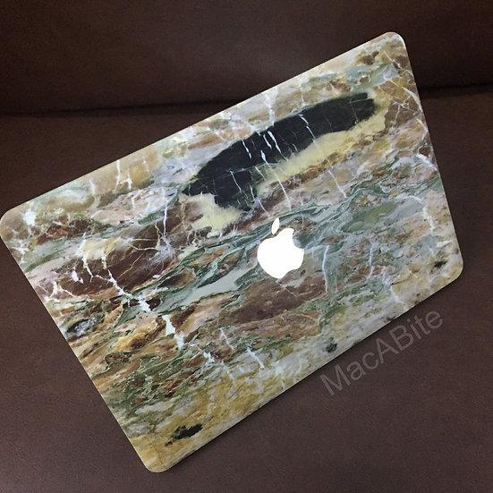 เคส Macbook ลายหินอ่อน สีน้ำตาลเจาะโลโก้ Air13รุ่นเก่า