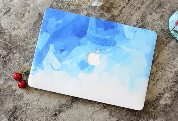 เคส Macbook ลาย paint Blue เจาะโลโก้