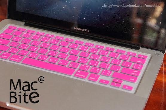 กันรอยคีย์บอร์ด สีชมพูบานเย็น มีภาษาไทย-อังกฤษ MacBook