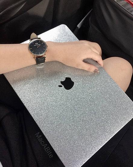 เคส Macbook กากเพชร สี Grey ผิวมัน เจาะโลโก้