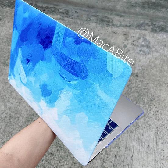 เคส Macbook ลาย paint Blue ไม่เจาะโลโก้