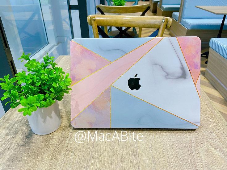 เคส Macbook ลายหินอ่อน pink Marble เจาะโลโก้