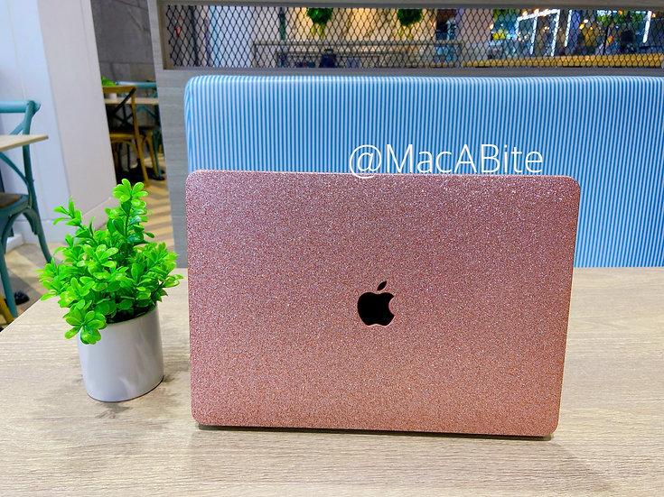 เคส Macbook กากเพชร สี Rose Gold (Pink) ผิวมัน เจาะโลโก้