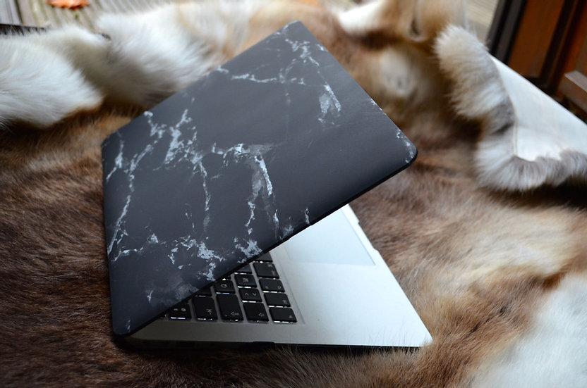 เคส Macbook ลายหินอ่อนดำ ไม่เจาะโลโก้