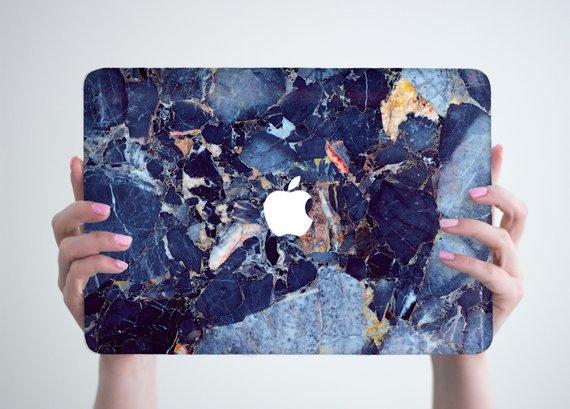 เคส Macbook ลายหินอ่อน Stone Blue เจาะโลโก้