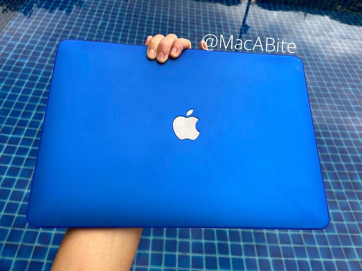 เคส Macbook สีน้ำเงิน ผิวด้าน เจาะโลโก้