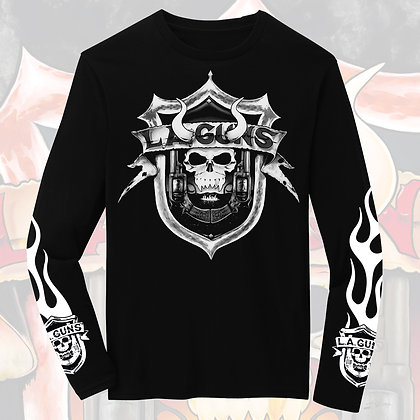 """""""The Devil You Know"""" Shield Flames Black and White Long Sleeve Tee"""