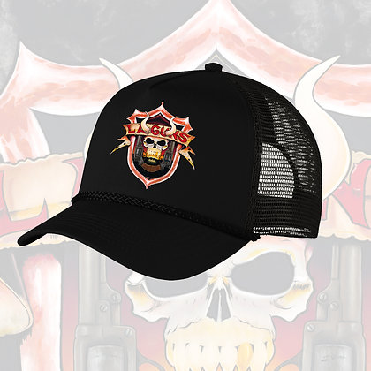 """The Devil You Know"" shield logo trucker hat"