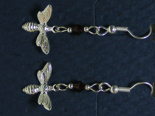 Silver Bees with Crystals