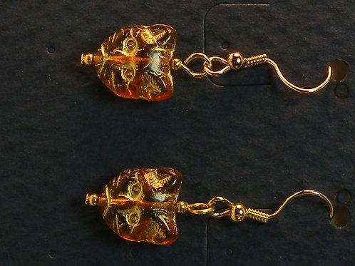 Amber Glass Cat Head