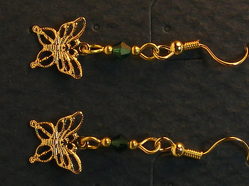 Gold Filigree Butterfly with crystal
