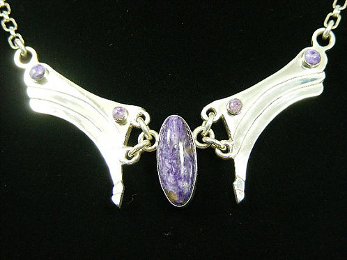 Descending Waves With Charoite Gemstone