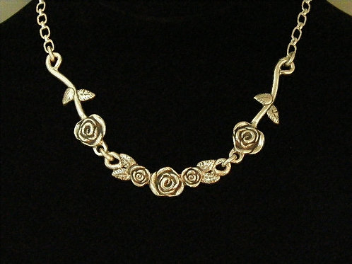 Long Stem and Rose Bar Necklace