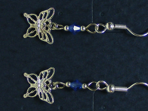 Silver Filigree Butterfly with crystal