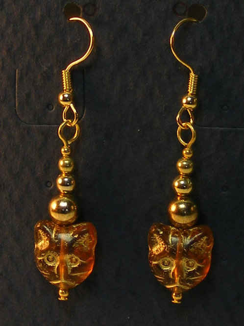 Amber Glass Cat Head with Graduated Beads