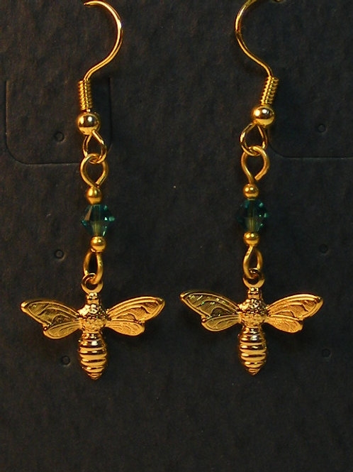 Gold Bee with Crystal