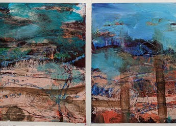 The land-sea interface by Stella Hollis (pt2)  2 studies Medium oil & cold wax on paper