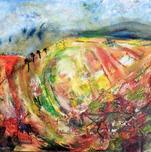 Windy walk on Dorset Ridgeway by Stella Hollis (pt2) Medium Acrylic on board