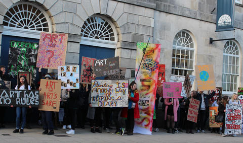 Marchers outside Shire Hall