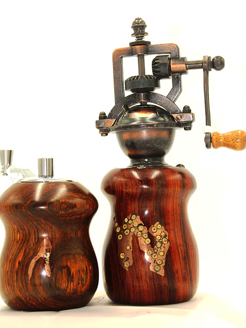 Cocobolo peppermill with matching salt mill Both  with copper and peppercorn inl