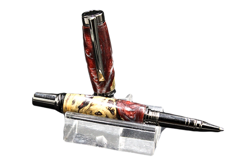 Rollerball in burl resin combination