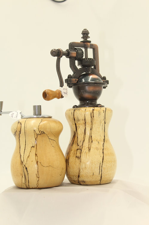 Spalted Tamarind Pepper mill with matching salt mill
