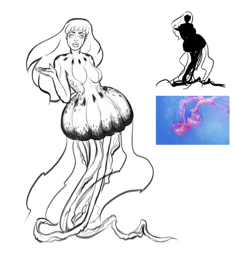 Jellyfish Woman Sketches