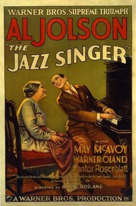 The Jazz Singer vintage movie poster of the first ever talkie movie, meaning the first film to have speaking!