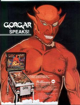 Gorgar by Williams in 1979. The first talking pinball machine and first game with speech!