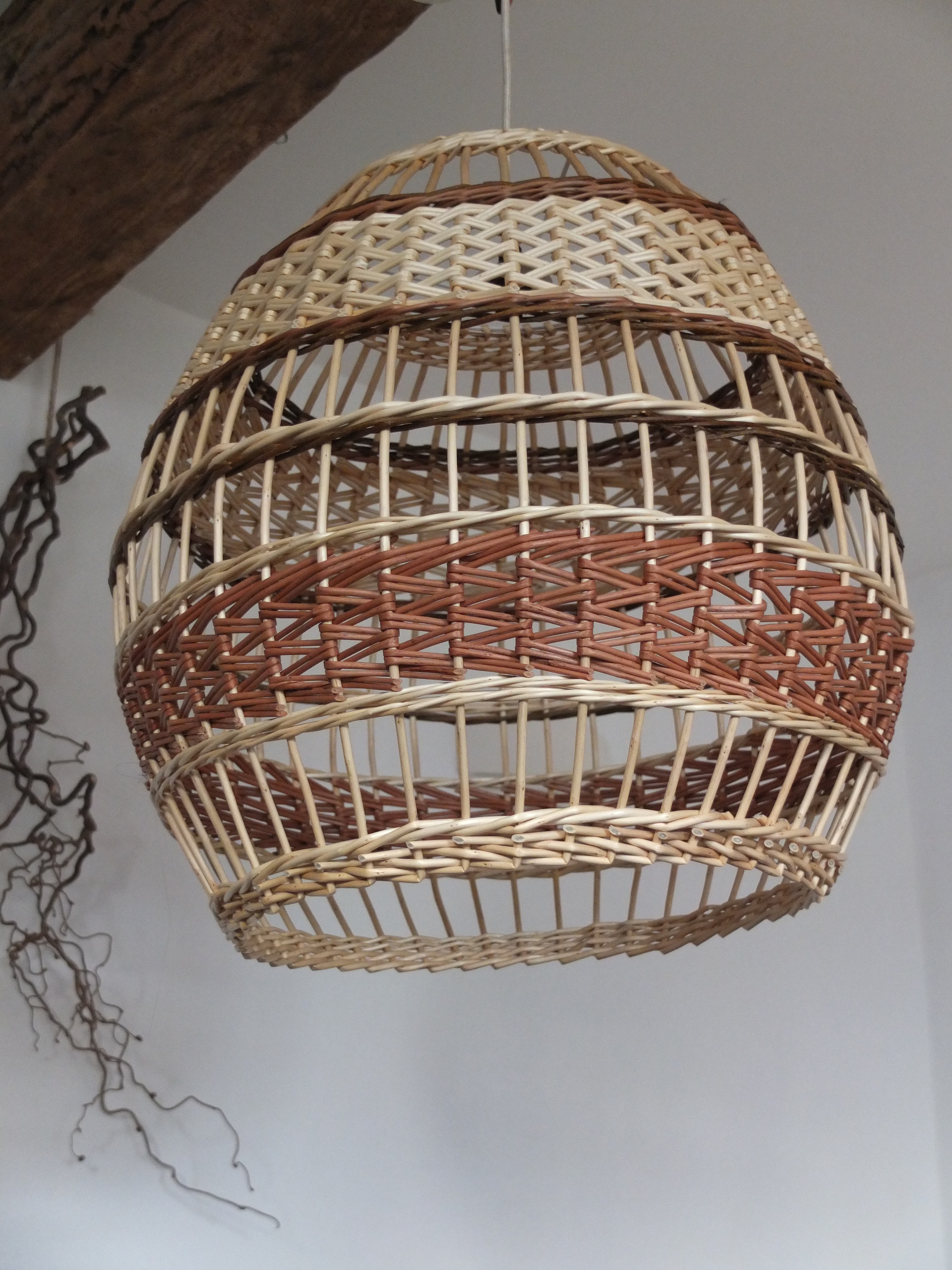 Handwoven willow lampshade in neutrals